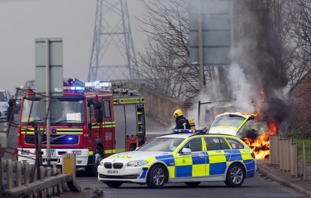 The van fire on Redbridge Flyover