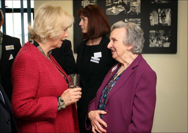 The Duchess of Cornwall chats to Jean Boothroyd of the Southampton and District Osteoporosis Support Group.