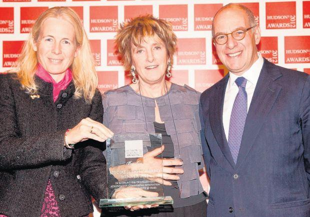 Mary Montagu-Scott with celebrity hosts Lucinda Lambton and Loyd Grossman.