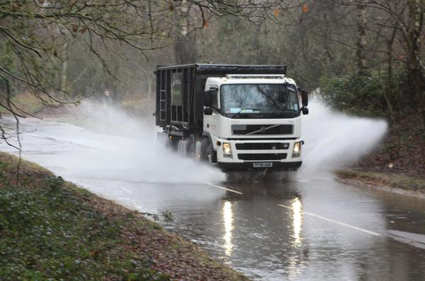A lorry negotiating flood water on Cupernham Lane in Romsey yesterday.