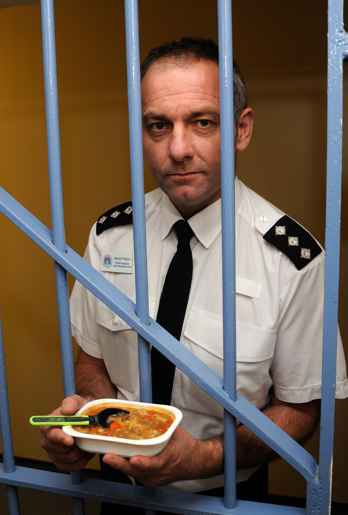 Chief Insp Andy Bottomley and the type of meal people in cells over Christmas can expect