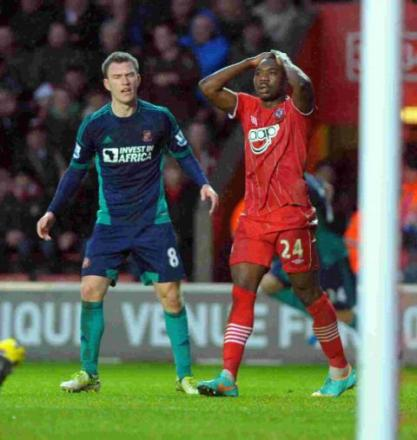 Emmanuel Mayuka reflects on a chance that went begging against Sunderland.