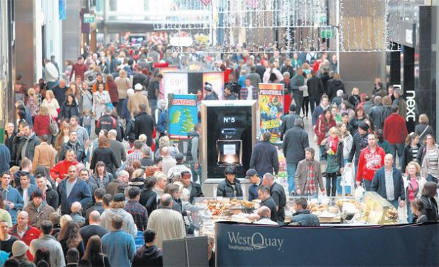 Shoppers in WestQuay over the weekend