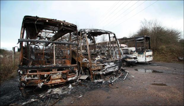 The burnt out coaches in Hedge End.