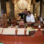Stewart Morland and Lois Price admire a Lego model of Basing House, Great Hall, Winchester