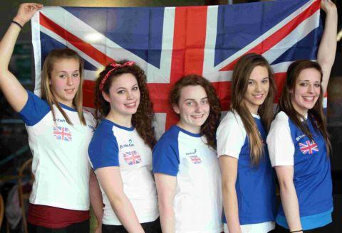 Southampton Diving Academy members (from left) Mollie James, Georgie Wingrove, Lauren Grinstead, Sarah White and Bethany Watts who represented Great Britain at a competition in Dresden, Germany.