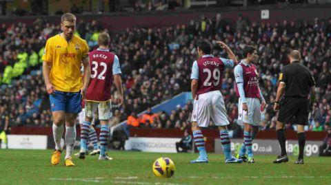 Lambert prepares to take his penalty against Aston Villa.