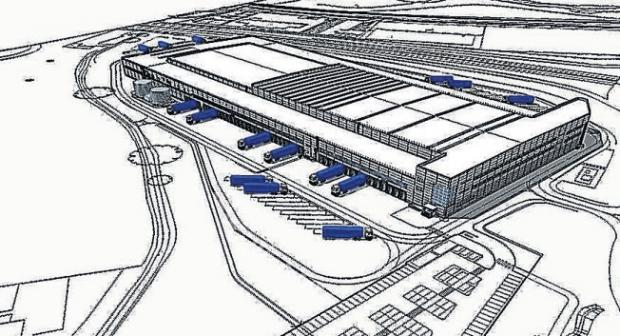An artist's impression of the new Lidl depot near the M271.
