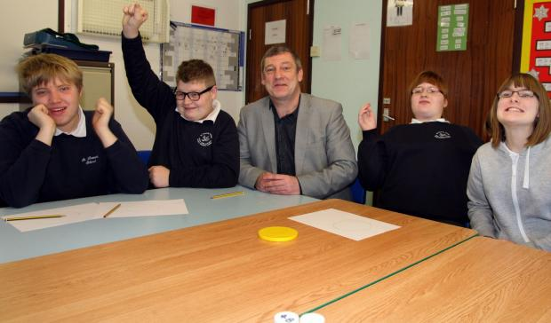 Headteacher Steve Hollinghurst with pupils