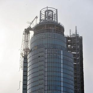 A clearer image showing the damaged crane