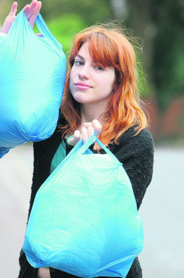 PAY FOR PLASTIC: Student Libby Russell.