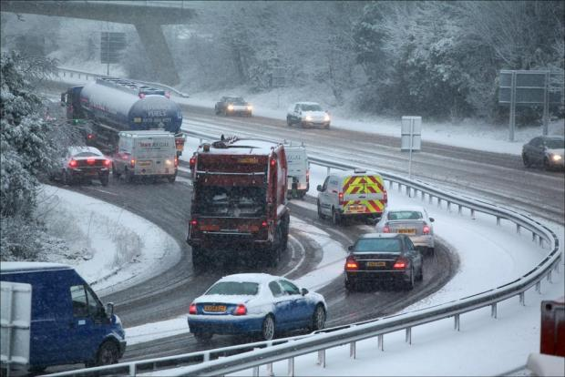 Traffic on the M271 this morning.