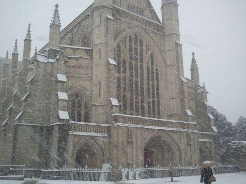 Winchester Cathedral in the snow