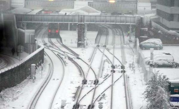 Southampton Central Railway Station in the snow
