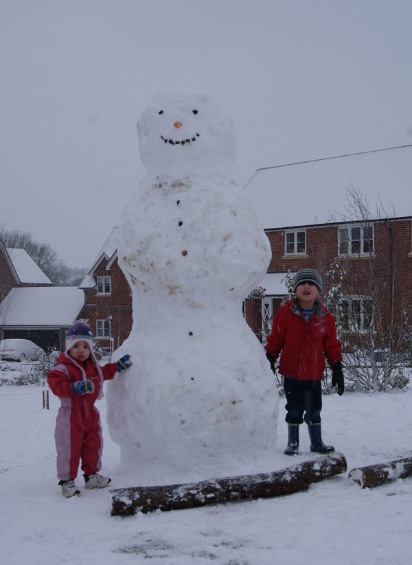 Daily Echo: A giant snowman in Casbrook Field, Upper Timsbury, Romsey