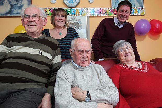 CELEBRATION: Percy Purkiss, centre, on his 107th birthday with, from left, son Ron, Lisa and Mark Stewart, and daughter-in-law Brenda.