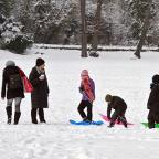 People pictured in the snow in Enfield Town Park on Monday