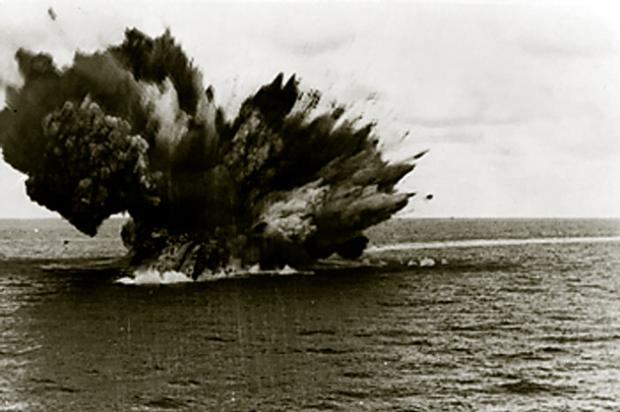 HMS Barham exploding after being torpedoed