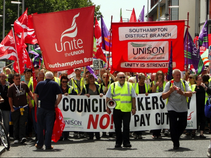 A previous union protest against council cuts