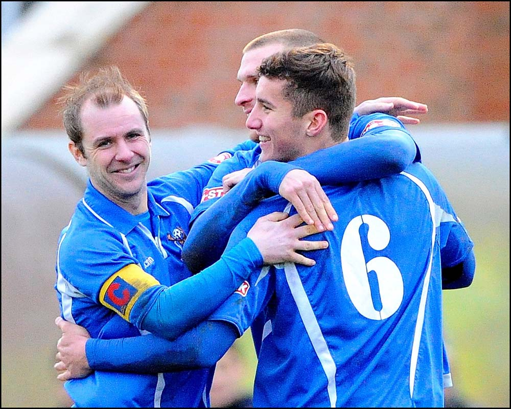 Totton celebrate their second goal. Picture by Denis Murphy.