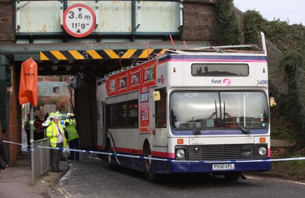 The bus after its roof was ripped off by a bridge in Portchester.