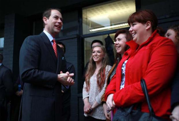 The Earl of Wessex meets students at Winchester University this morning.