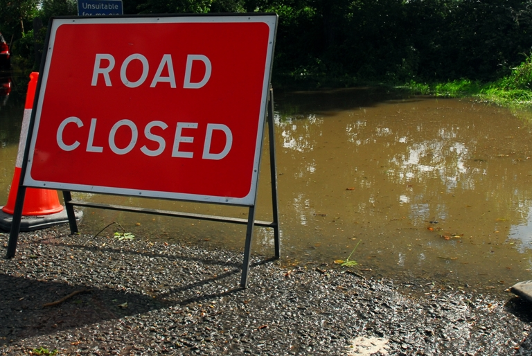 Roads closed after flooding