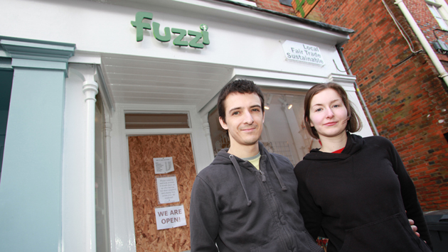 Andy and Hannah Mintram outside their shop, Fuzzi, in Winchest