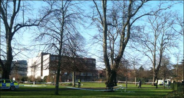 Park sealed off after pair found unconscious