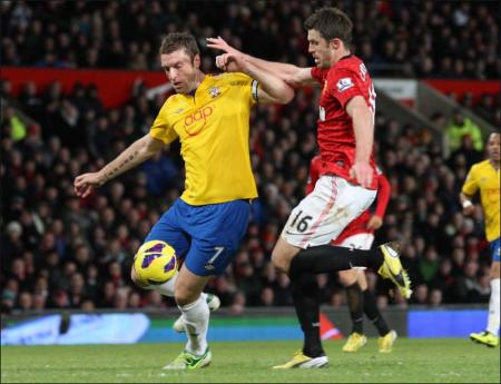 Images from the Premier League match between Manchester United and Saints. The unauthorised downloading, copying, editing, or distribution of this image is strictly prohibited.