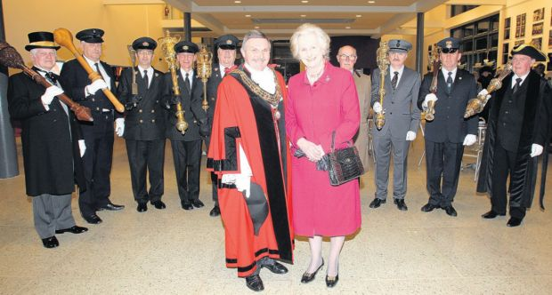 The Lord Lieutenant of Hampshire Dame Mary Fagan with Southampton mayor Cllr Derek Burke and mace bearers.