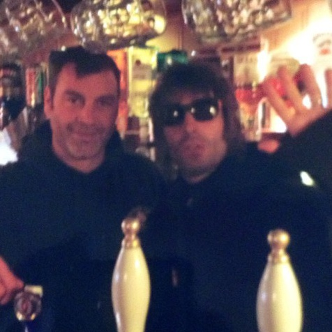 Liam Gallagher with Andrew Colverson, owner of The Foresters Arms in Brockenhurst