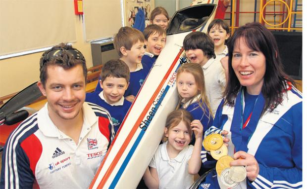 GB Canoeist Jonathan Boyton and Paracanoeist Jeanette Chippington visit Meonstoke Infants. Echo picture by Joanna Mann. Order no: 15865219