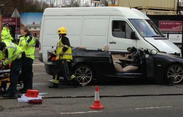 Woman cut free from Southampton crash
