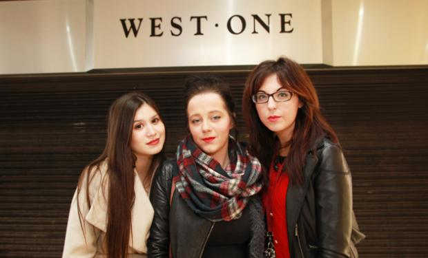 Daily Echo: Staff Caroline Javor, Vicky Cullen and Poppy Gale outside the shut-up store.