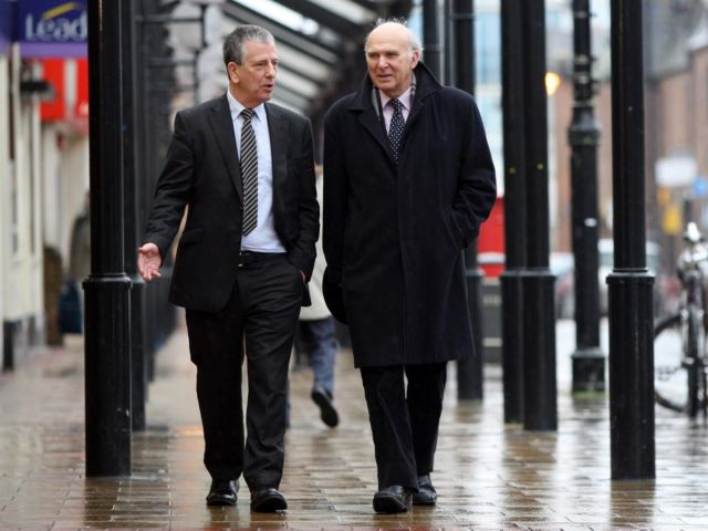 Best feet forward: Mike Thornton and Vince Cable today