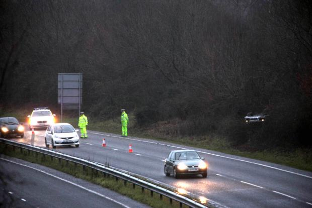 Car overturns on Hampshire by-pass