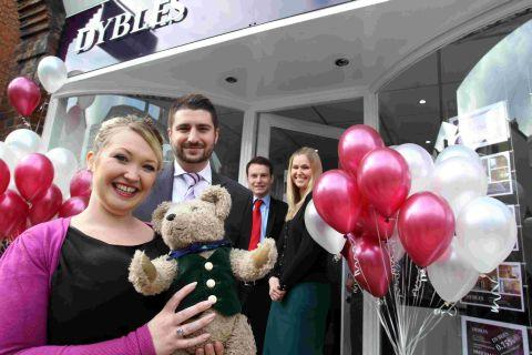 Left to right: Marketing manager Harriet Pepper with Binky the Bear, director Michael Dyble, branch manager Simon Martin, and vendor manager Charlotte Bone