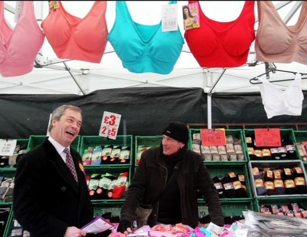 UK Independence Party leader Nigel Farage drums up support in Eastleigh