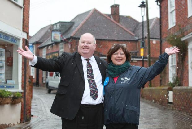 Eric Pickles campaigns for Tories in Eastleigh