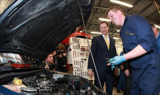 Nick Clegg at Eastleigh College.