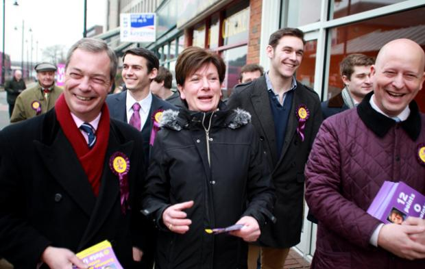 Eastleigh UKIP Candidate Diane James with Nigel Farage