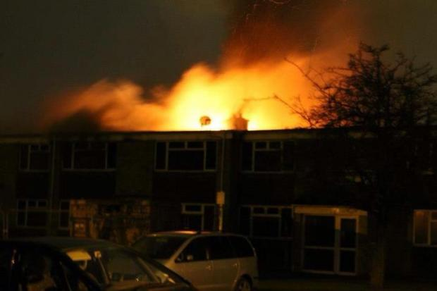 Daily Echo: The fire in Eastleigh. Photo by Echo reader Edward Grant