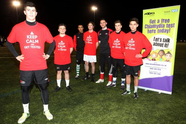 The Southampton Solent University 1st XI footballers back the Keep Calm And Get Tested campaign for Chlamydia awareness