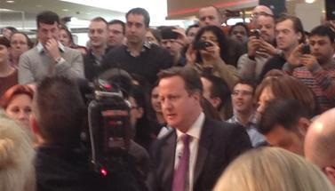 David Cameron meets staff at B&Q