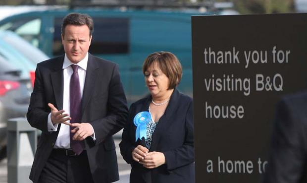 David Cameron and Maria Hutchings in Eastleigh today.