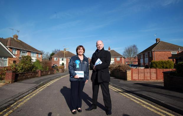 Maria Hutchings and William Hague in Hedge End this morning.