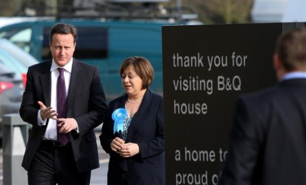 Maria Hutchings in Eastleigh with Prime Minister David Cameron.