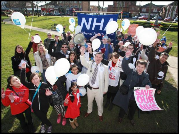 Candidate Dr Iain Maclennan pictured with his supporters in Eastleigh today
