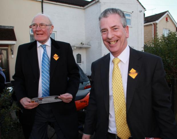 Sir Menzies Campbell with Lib Dem candidate Mike Thornton in Eastleigh.